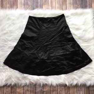 Theory Black Satin Skirt